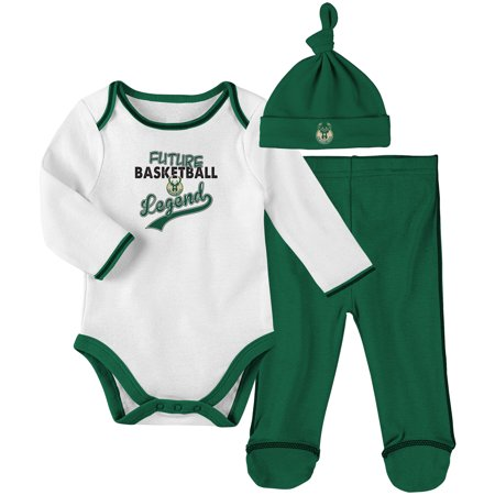 Milwaukee Bucks Newborn & Infant Future Legend Bodysuit, Pant and Hat Set - Hunter Green
