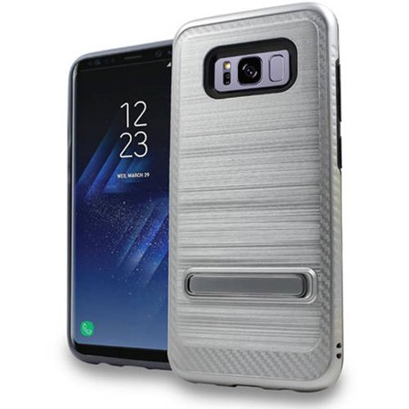 e7e372f4f35 Mundaze Metallic Shield Kickstand Case for Samsung Galaxy S8 Plus, Silver -  Walmart.com