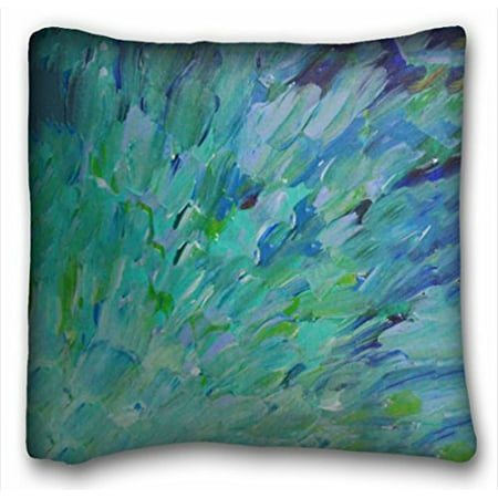 WinHome Beautiful Ocean Theme Peacock Feathers Mermaid Fins Waves Blue Teal Abstract Pillowcases Sofa Size 20x20 Inches Two Side - Ocean Theme Decorations