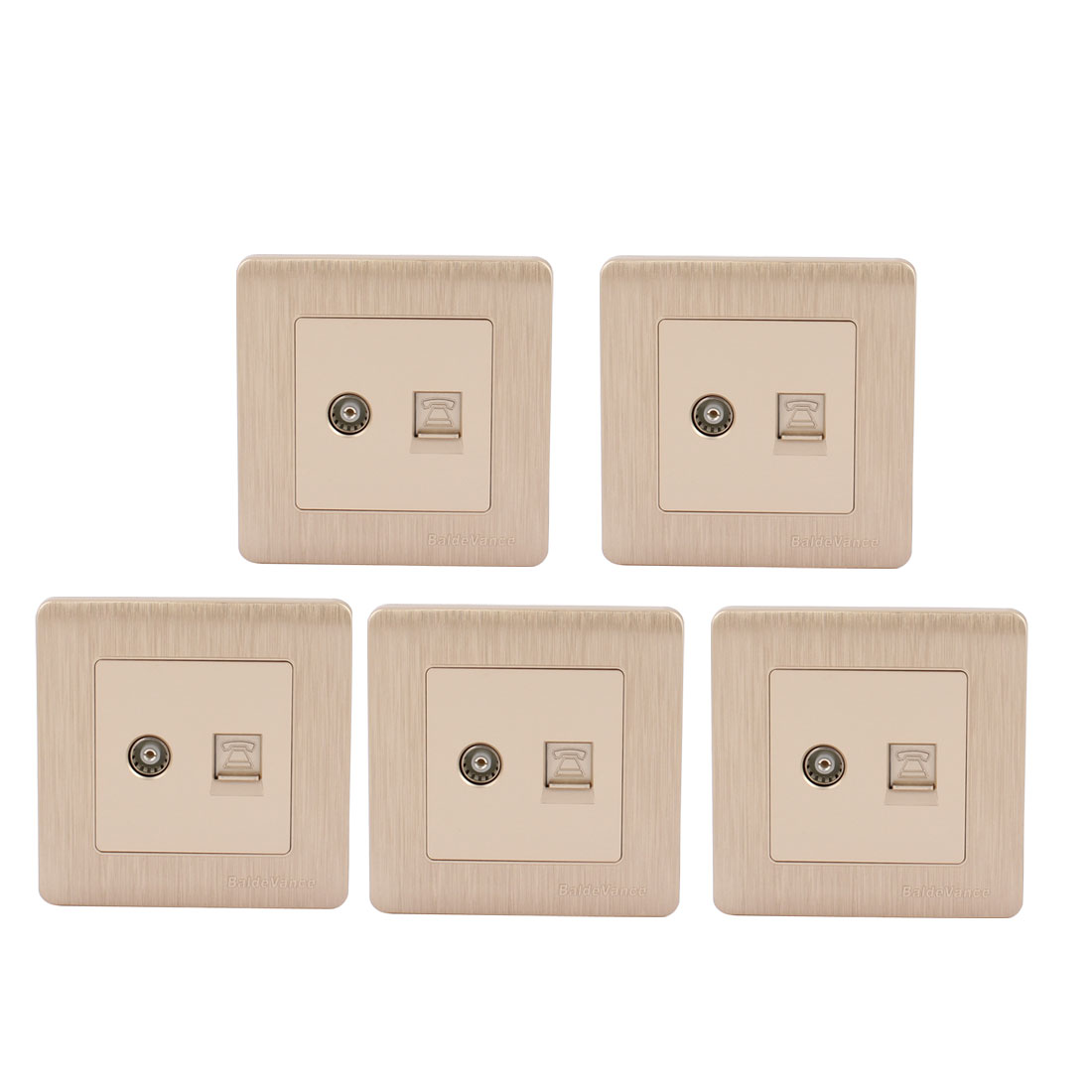 5pcs 1 Port TV/Telephone Socket Outlet Wall Plate Champagne Gold Tone 86mmx86mm