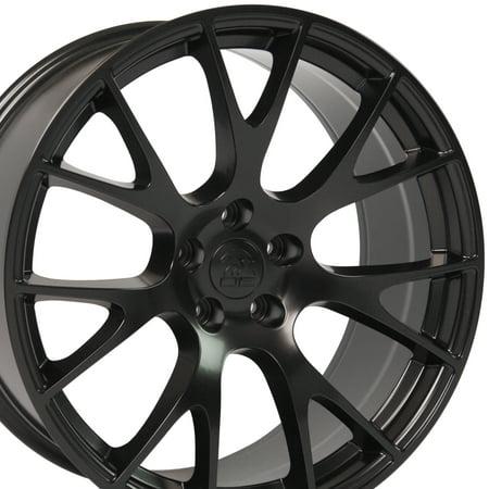 Dodge Magnum Styling (OE Wheels 20 Inch SRT8 Hellcat Style | Fits Dodge Challenger Charger SRT8 Magnum Chrysler 300 | DG15 Satin Black 22x9 Rim | Hollander 2528)