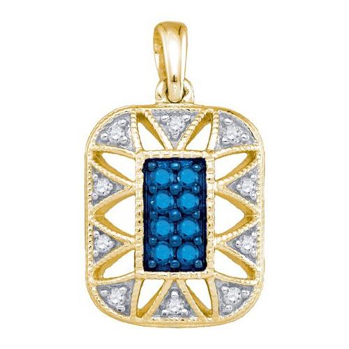 10K Yellow Gold 0.25ctw Decorated Blue Pave Diamond Milgrain Fashion Pendant