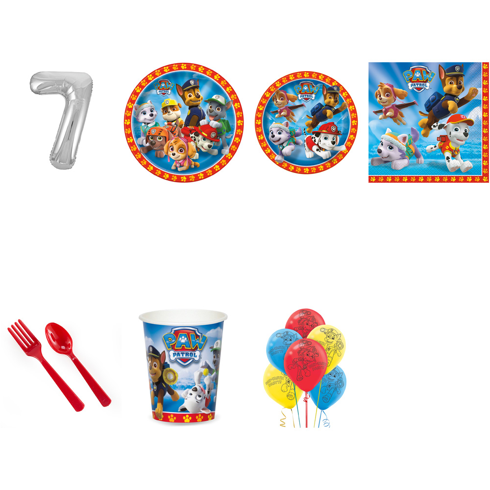 PAW PATROL PARTY SUPPLIES PARTY PACK FOR 32 WITH SILVER #7 BALLOON