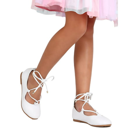 New Girl Little Angel Britt-912E Leatherette Lace Up Ankle Wrap Ballet Flat