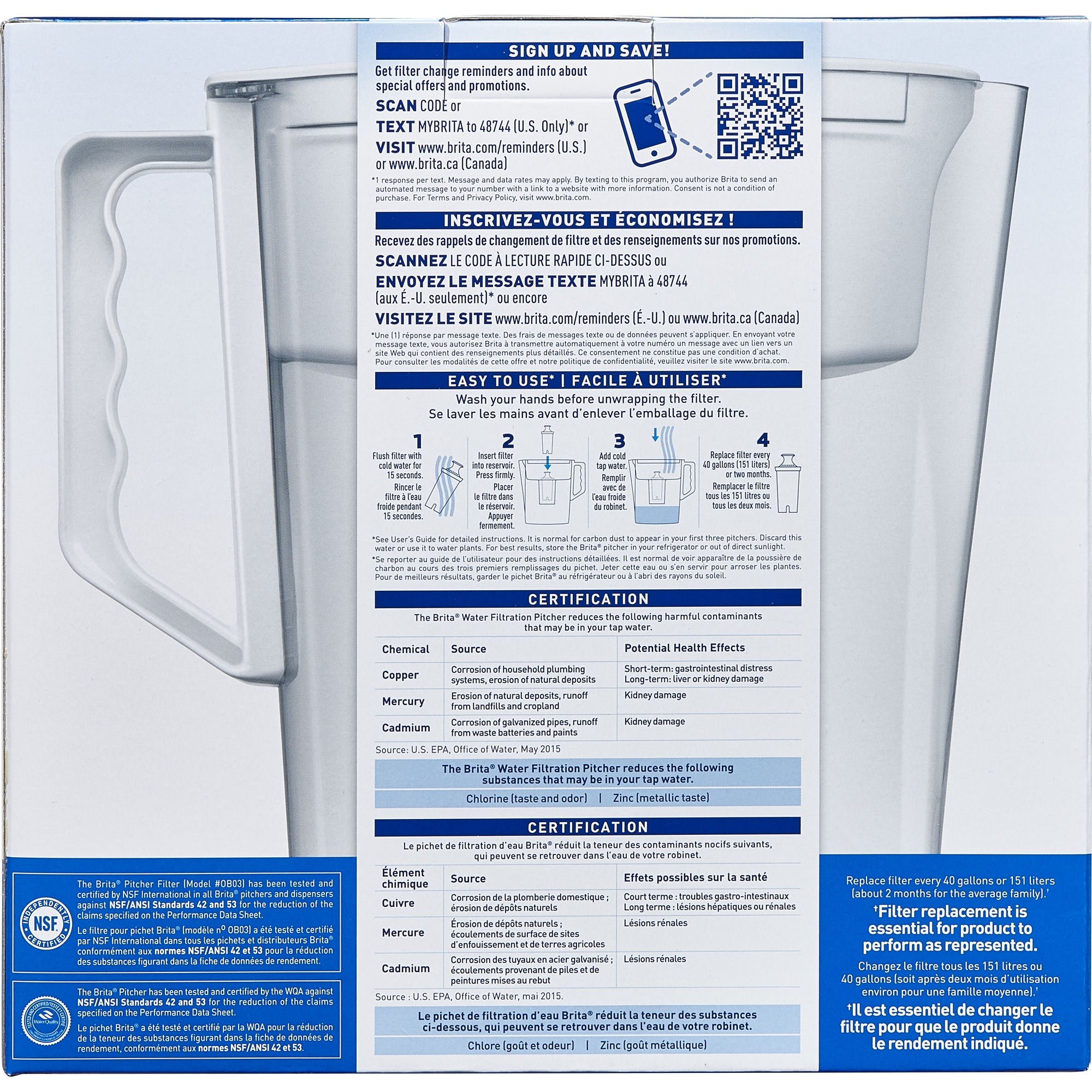 Brita Slim Water Pitcher With 1 Filter, BPA Free, White, 5 Cup   Walmart.com