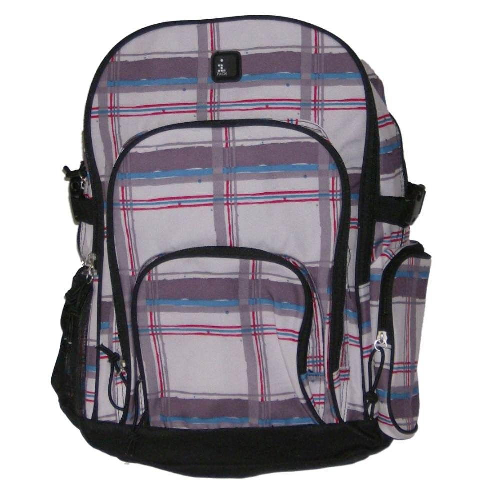 iPack Modern Gray Plaid  Backpack Sport with Laptop Sleeve School Travel Pack