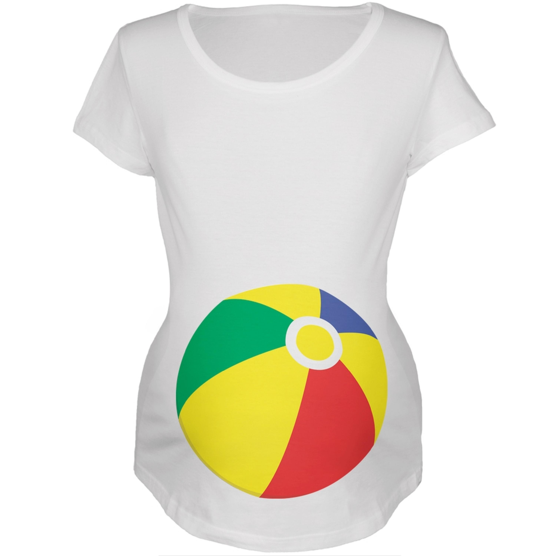 Beach Ball Summer Baby White Maternity Soft T-Shirt