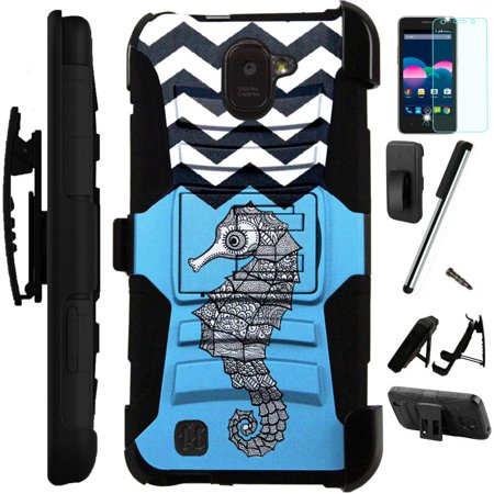 huge discount 01081 da853 For ZTE Jasper LTE Z718TL Case Heavy Duty Hybrid Armor Dual Layer ...