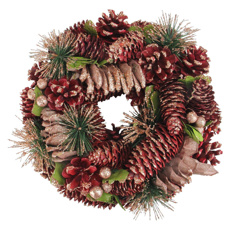 """10.25"""" Rose Pine Cones & Berries X-mas Wreath"""