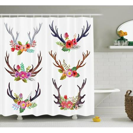 Antlers Decor Shower Curtain Set Deer Horns Bouquet Flowers Bloom Fun Springtime Garden Branches