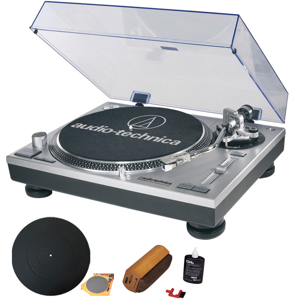 Audio-Technica ATLP120USB Professional Stereo Turntable w/ USB LP to DIG With RCA Turntable Cleaning System + Silicone Rubber Universal Turntable Platter Mat