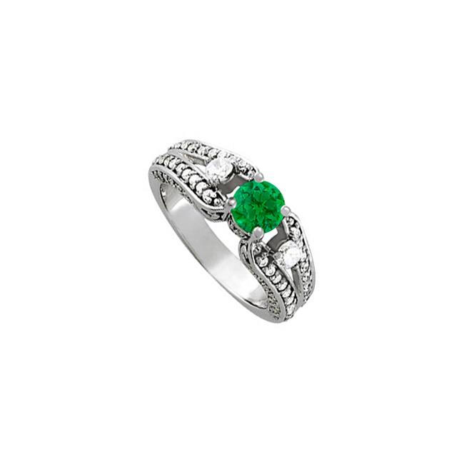 Fine Jewelry Vault UBUNR84439AGCZE Stylish Emerald & CZ Ring - 1.25 CT TGW , 2 Stones