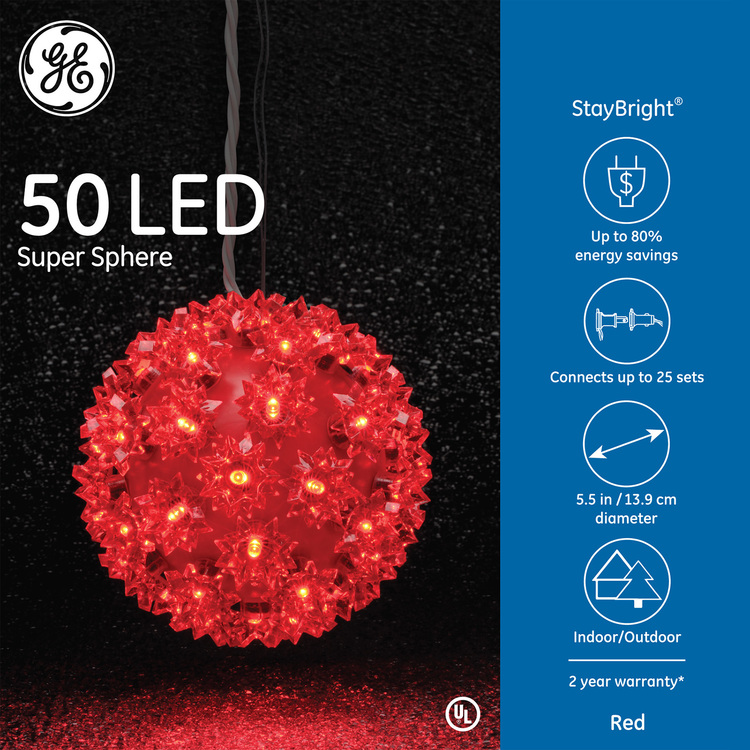 GE 5.5-in Hanging Super Sphere Light Display with 50 Blue LED Lights