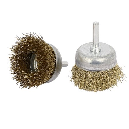 Stainless Steel Crimped Wire - 6mmx50mm Stainless Steel Bowl-Shaped Crimped Wire Brushes Polishing Tools 2pcs
