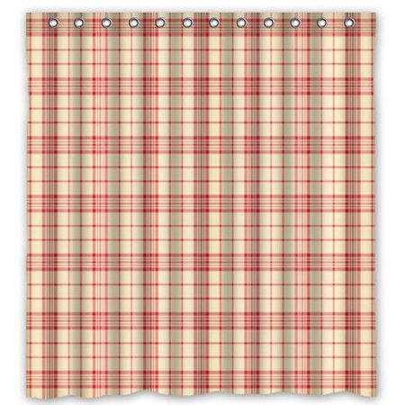 Gingham Shower Curtain (GreenDecor Classic Red Gingham Waterproof Shower Curtain Set with Hooks Bathroom Accessories Size 66x72)