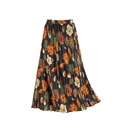 La Cera Women's Floral Red/Black Reversible Skirt - Cotton Crinkle Broom Skirt - La Redoute Skirt