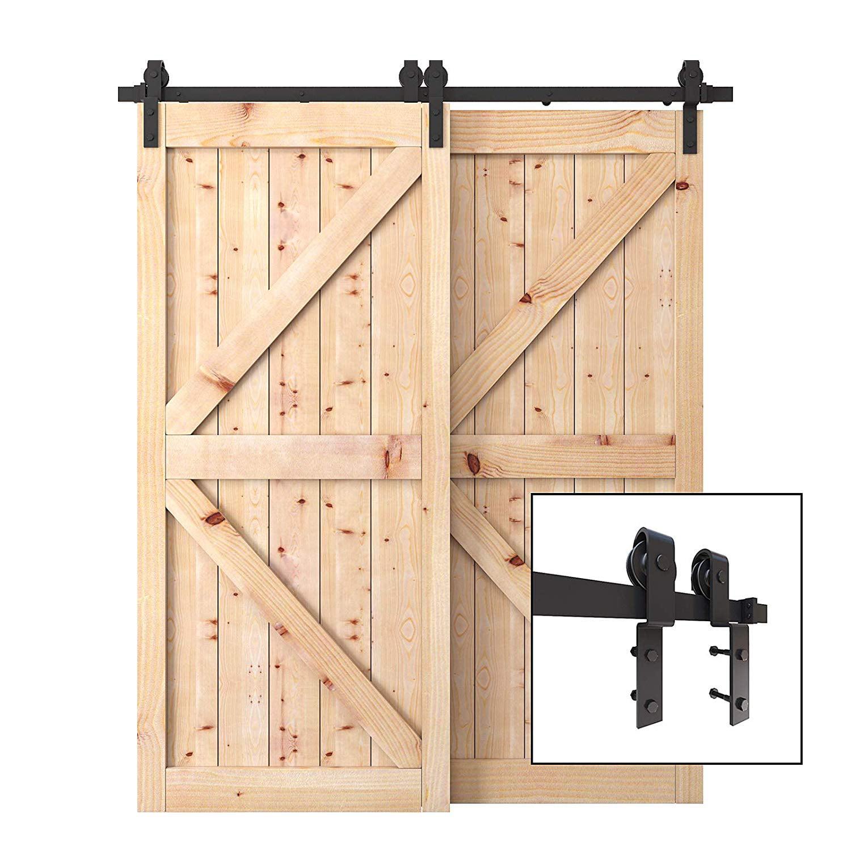 6 6 Ft Steel Bypass Barn Door Hardware For Double Sliding Wood Doors Single Rail Track Kit Black Walmart Com Walmart Com