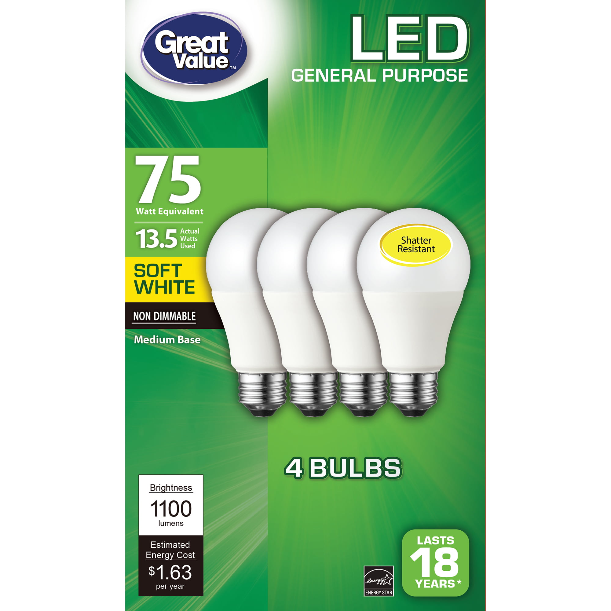 4-Pack Do it 75W Equivalent Soft White Medium Base A19 Halogen Light Bulb