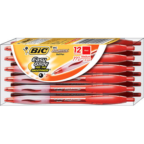 BIC Atlantis Retractable Ball Pen, Medium, Red, 1 Dozen