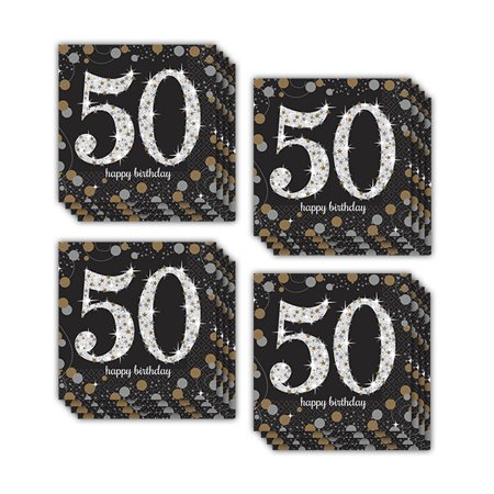 Sparkling Celebration 50th Beverage Napkins (48) - 50th Birthday Napkins Personalized