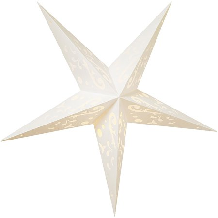 Paper Star Lantern (24-Inch, White, Harmony Design) - For Home Decor, Parties, and Holiday