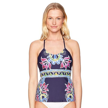 ac071af630e8d Trina Turk - Trina Turk Women's Halter Tankini Swimsuit Top, Navy/Lotus  Batik Print, SZ 8 - Walmart.com