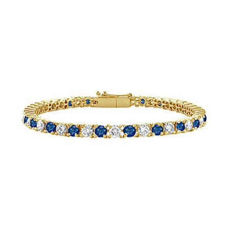 Created Sapphire and Cubic Zirconia Tennis Bracelet with 1.50 CT TGW on 14K Yellow Gold - image 1 de 2
