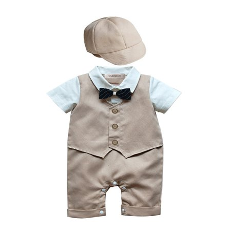Baby Boys Christening Romper (StylesILove Baby Boy Formal Wear Romper and Hat 2-piece (6-12 Months, Khaki) )