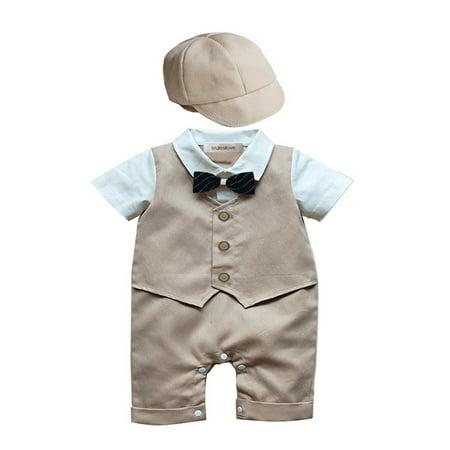 StylesILove Baby Boy Formal Wear Romper and Hat 2-piece (6-12 Months, Khaki) ()