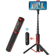 Selfie Stick Tripod, Camera Tripod,Lightweight Aluminum All in One Extendable Phone Tripod Selfie Stick bluetooth with Remote for iPhone 11/Xs MAX/XR/XS/X/8/8 Plus/7/7, for Galaxy Black Red