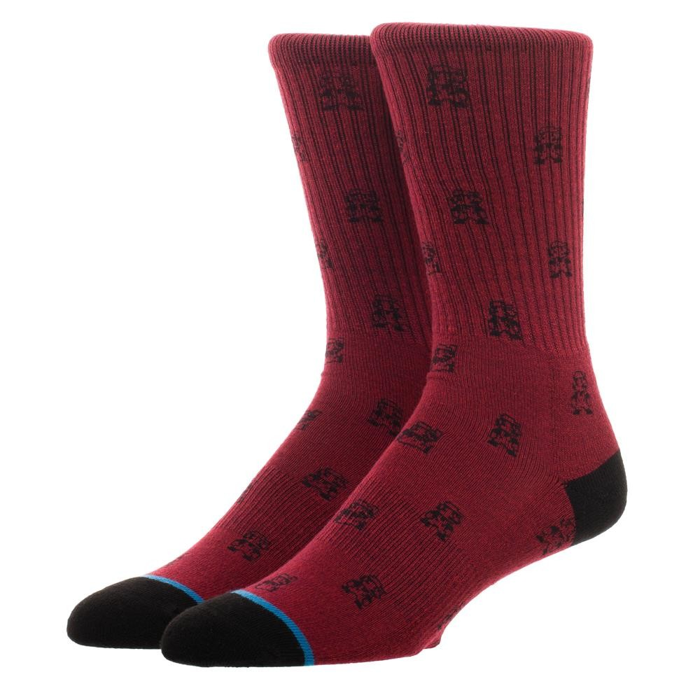 Super Mario Bros. Nintendo Water Print Men's Red Crew Socks