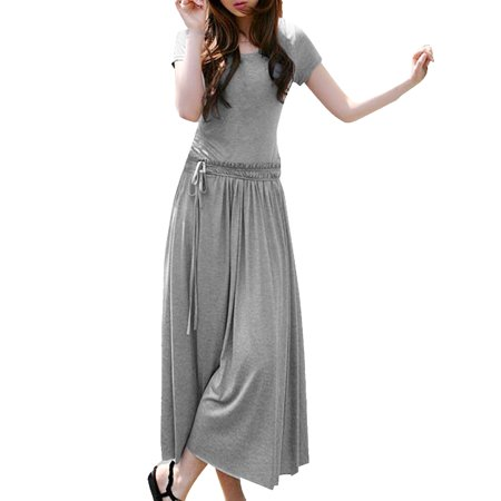 Women's Gray Drawstring Waist Short Sleeve Scoop Neck Full-length Dress (Size M / 8) (Drawstring Neck Dress)
