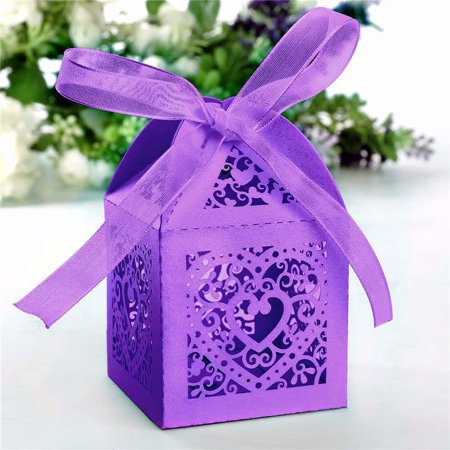 Mix Sweets Gift Box - 50pcs Love Design Wedding Favor Sweets Candy Boxes Gift Boxes with Ribbons,Purple