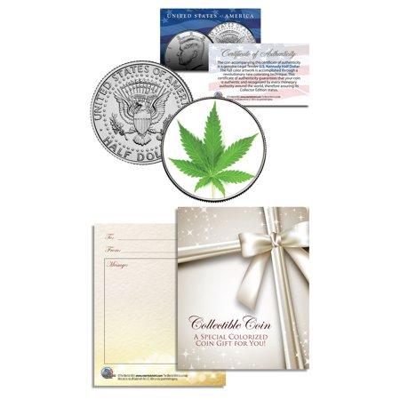 MARIJUANA POT LEAF Collectible JFK Kennedy Half Dollar U.S. Colorized Coin GIFT ()