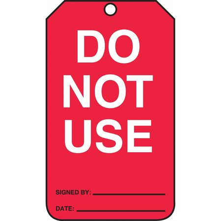 ACCUFORM Safety Tag,Do Not Use,White/Red,PK25 MGT219CTP