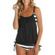 Womens Plus Size Tankini Set Strappy Stripe Bikini Push Up Swimsuit Swimwear Beachwear