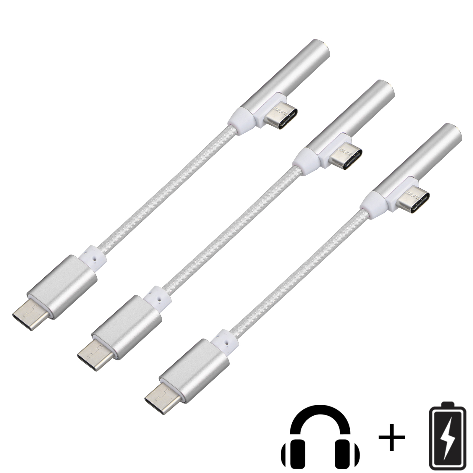 3-pack 2 in 1 Type-C 3.5mm Audio Jack Cable, USB-C Jack Audio Adapter, Headphone Charger Converter Supports Audio and Charging Cord Cable for Samsung Motorola Oneplus