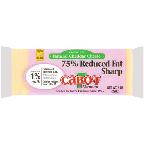 Cabot Vermont Premium Natural 75% Reduced Fat Sharp Cheddar Cheese, 8 oz
