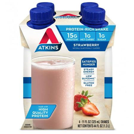 Nutritional Shake Strawberries (Atkins Strawberry Shake, 11 fl oz, 4-pack (Ready To)