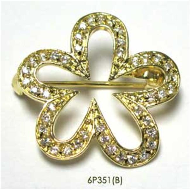 Dlux Jewels Gold & White Flower Brooches Pin by Dlux Jewels
