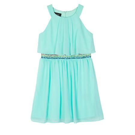 Mint Tie Waist Dress (Halter Neck Sequin Waist Dress (Big Girls))