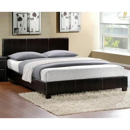 Homelegance Zoey Upholstered Platform Bed in Dark Brown Bi-Cast Vinyl - (Homelegance Bedroom Bed)