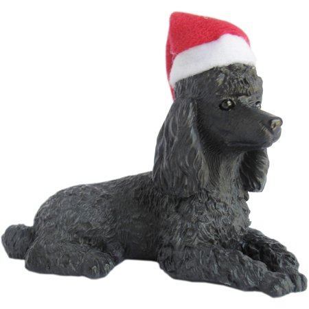Sandicast Lying Black Poodle with Santa's Hat Christmas Dog Ornament ()