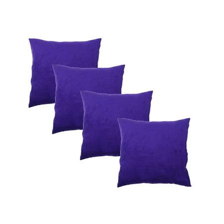 Solid Velvet Throw Pillow Cover Decorative Square Covers for Sofa Bedroom Car(4PCS Dark Purple) ()