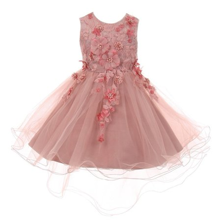 Little Girls Dusty Rose 3D Floral Appliques Hi-Low Tulle Flower Girl Dress 4 - Flower Girl Dress On Sale