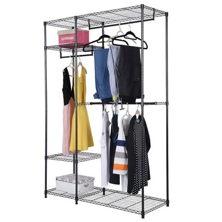 4 Tiers Clothing Storage Rack Black Introductions:If you are looking for a clothing storage rack, you can take this 4 Tiers Clothing Storage Rack into consideration. This clothing storage rack is made of high quality iron, which is sturdy and durable. Its design of 4 tiers is very practical, so that you can put a lot of clothes in it. And it also has a strong bearing capacity, which is not easily deformed. Thus, your room will no longer in a mess by using this practical and convenient clothing storage rack. So what are you waiting for? Just take action!Features:1. Made of high quality iron, sturdy and durable2. Design of 4 tiers, can store a lot of clothes 3. Strong bearing capacity, not easily deformed4. Practical and convenient for use5. Easy to installSpecifications:1. Material: Iron2. Color: Black3. Overall Dimensions: (47.25 x 17.72 x 70.87)  / (120 x 45 x 180)cm (L x W x H)4. Weight: 25.17 lbs / 11.42 kg5. Weight Capacity: 70 lbs / 31.75 kgPackage Includes:1 x Clothing Storage Rack