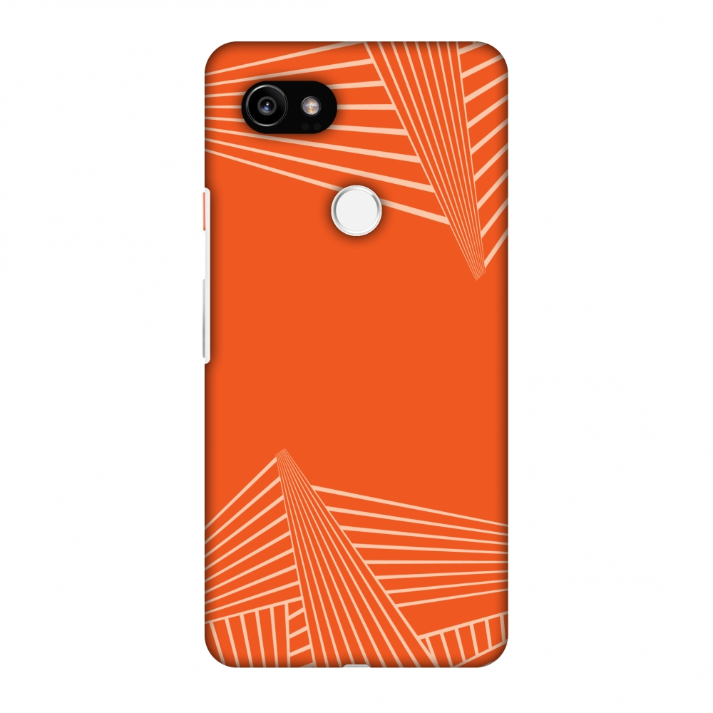 Google Pixel 2 XL Case, Premium Handcrafted Designer Hard Shell Snap On Case Printed Back Cover with Screen Cleaning Kit for Google Pixel 2 XL, Slim, Protective - Carbon Fibre Redux Tangy Orange 3