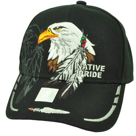 Native Indian American Pride Bald Eagle Shadow Feather Hat Cap Black Adjustable](Professional Bald Cap)