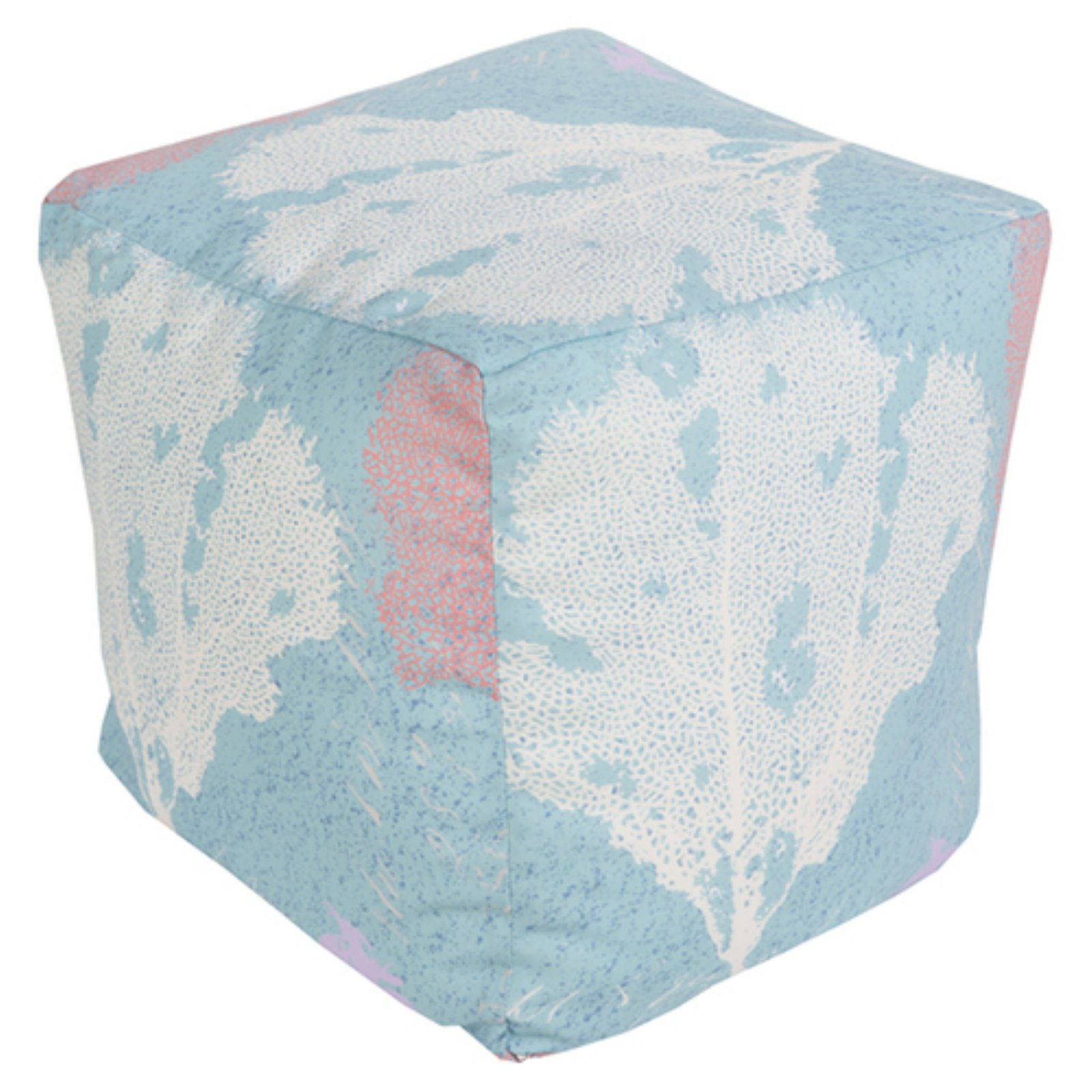 Surya 18 x 18 in. Outdoor Coral Cube Pouf by Surya