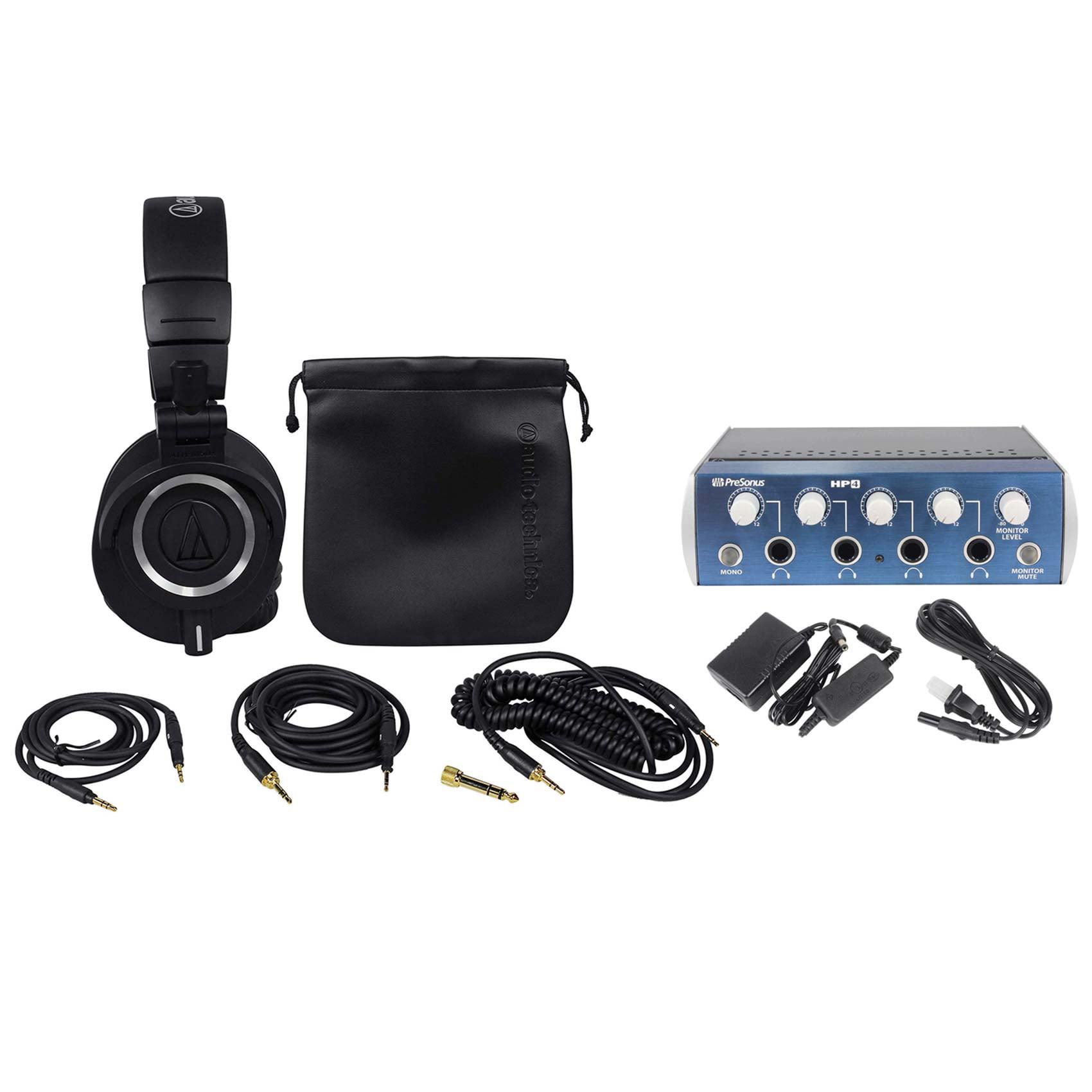 Audio Technica ATH-M50X Studio Headphones+Presonus HP4 4 Channel Headphone Amp by Audio-Technica
